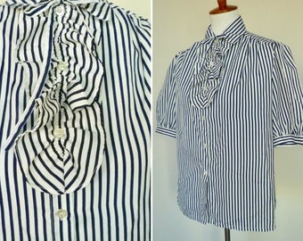 Vintage 70s short blue and white sleeve stripe bow blouse with ruffle placket by Sears