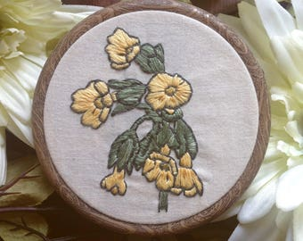Floral Cowslip Botanical Embroidery Hoop