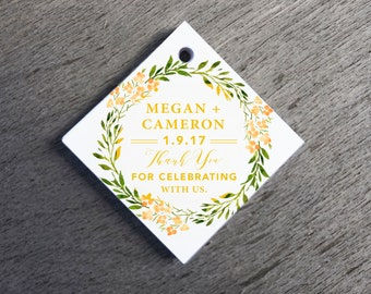 Greenery Wedding Favor Tags Thank You Wedding Tags Die-cut Paper Hang Tags, Custom Gift Tags Square Gift Tags Floral Welcome Bag Tags