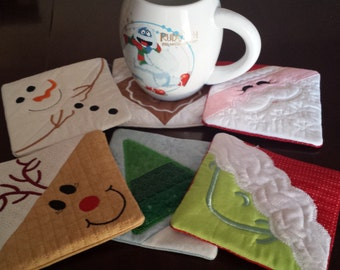 Embroidered Christmas Coasters (Set of 6) ,Santa Coaster,Reindeer,Christmas Tree,Snowman,Gingerbread,****FREE SHIPPING****