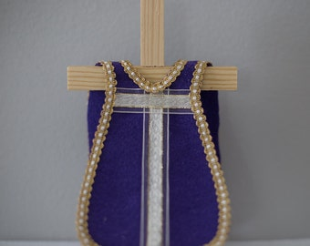 Single Violet Felt Vestment with White and Gold Ribbon