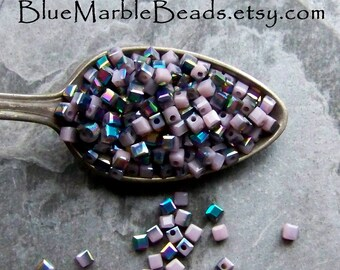 Square Seed Beads, Purple Seed Beads, Purple AB, Metallic Blue, Opaque Beads, Small Glass Beads, Unique Beads, 1 Scoop
