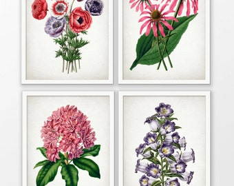 Flower Art Print Set of 4 - Pink Rhododendron - Botanical Print - Pink Flower - Purple Flower - Set Of Four Prints #1597 - INSTANT DOWNLOAD