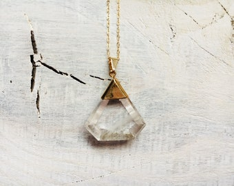Crystal Quartz Necklace- Gold Necklace- One of a Kind