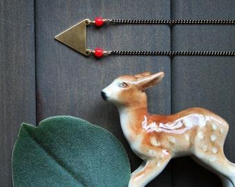Brass arrow necklace triangle necklace red necklace gold geometric necklace short necklace for women black chain minimalist - Nerys Necklace