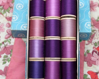 Star Mercerized Cotton Thread*Assorted Lavender Threads*Wooden Thread Spools in Box*12 Spools Star Twist*Sewing Collectables, Supplies