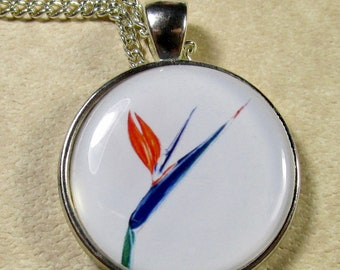 Bird of Paradise Pendant, Bird of Paradise Jewelry, Bird of Paradise Necklace, Tropical Pendant, Tropical Necklace, Tropical Jewelry