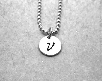 Letter V Necklace, Sterling Silver, Initial Necklace, All Letters Available, Hand Stamped Jewelry, Personalized Jewelry, Mother's Necklace