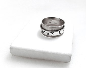 Personalized Custom Coordinates Ring, Unisex Sterling Silver Wide Band Hand Stamped Latitude Longitude, Coordinates Jewelry, Couples Ring