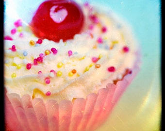 Food photography, Kitchen Decor, Cupcake, Fairy cake, Cherry, Sprinkles, Cream, Ttv Photography.
