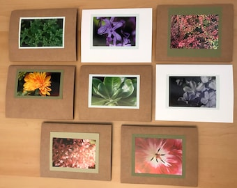 Set of 8 Photography cards, Flowers - blank inside