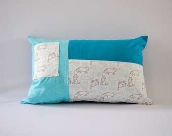 Pillow / Pillow cover / Cushion / Cushion cover with pocket for book- Cats