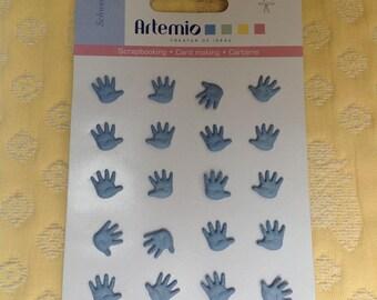 Set of 20 handmade blue - - cardmaking - scrapbooking, card making embellishment Brads