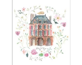 Paris print, Le Marais parisian house poster, Watercolor illustration of Paris, French art, Paris Home decor, Paris architectural painting