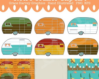 Camper Clip Art, Trailer Clip Art, Retro Clip Art, Retro Graphics, Instant Download PNG EPS, Retro Digital Paper, Retro Clip Art, Retro PNG