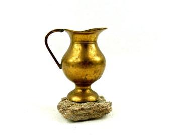 Brass pitcher - Vintage brass creamer - Gold water pitcher - Rustic brass home decor - Shabby Chic home decor