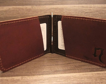 Simple Leather Bifold Clip Wallet