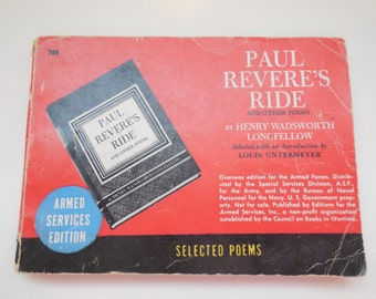 Paul Revere's Ride and Other Poems by Henry Wadsworth Longfellow, Armed Services Edition (1945)