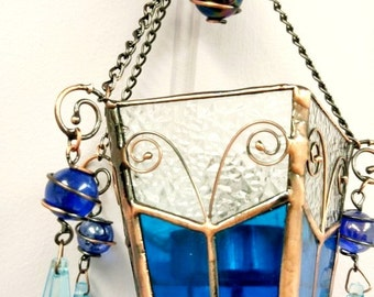 Vintage Stained Glass Hanging Candle Holder/  Lantern