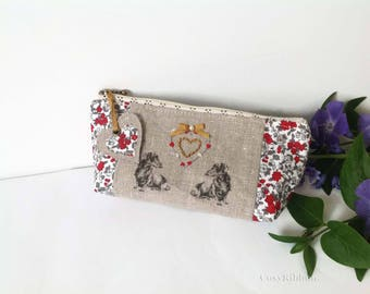 Cosmetic Case, Make Up Case, Dachshund Printed Case, Zipped Linen Case , Embroidered Zip Pouch , Red Cosmetic  Case, Blue Make Up Case