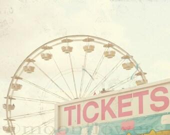 Ticket Booth großen Druck 10 x 13 Karneval Riesenrad verträumte Rosa Aqua blau Feminine Kinderzimmer Baby Dekor Photographie
