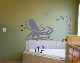 Octopus and Fish Underwater Scene wall decal | octopus wall art octopus decal nautical nursery ocean fish wall decals bathroom wall decor