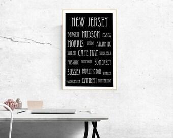 New Jersey Art Print   New Jersey Counties Digital Art Printable