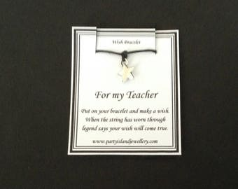 TEACHER Star Charm Friendship Bracelet in 12 Colours with Wish Message Card