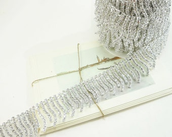 Silver Rhinestone Fringe Trim, Rhinestone Chain, Clear Crystal Trim, Wedding Crystal Chain, 35mm ( 1 Feet Qty)