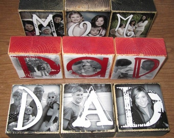 Personalized GIFT- DAD photo letter blocks- set of 3