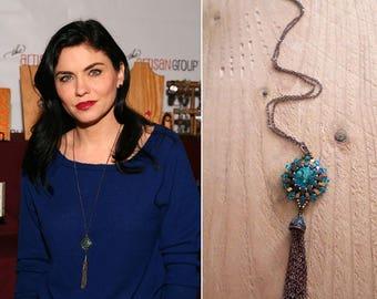 Jodi O'Keefe Vampire Diaries & Hit The Floor,Swarovski Tassel Necklace, Long Woven Pendant For Her,Trendy Necklace for Girlfriend