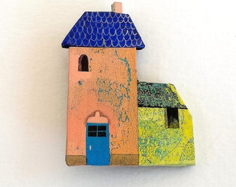 "Brooch ""Little house pink blue yellow"""