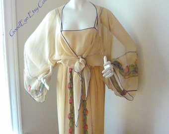 Sheer Romantic 2pc Cocktail Dress w Kimono Jacket / size 6 8 10  / KAY KIPPS New York / 80s Tea Length Evening Wedding