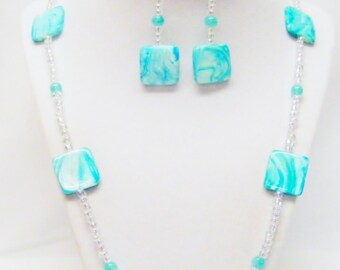Aqua Swirl Rectangle Glass Bead Strand Necklace & Earrings