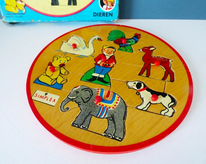 Vintage wooden Simplex people puzzle tray