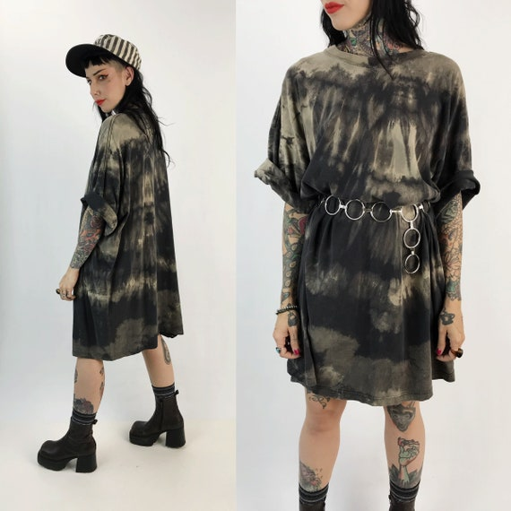 Black Tie Dye Bleached Long/Tall Tee 6XL - Unisex Grunge Goth Plus Size Streetwear Crew Neck Black Dress - Rustic Baggy Oversized Cotton Tee