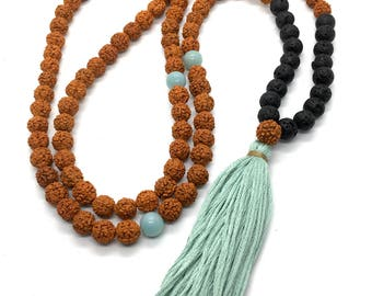 Rudraksha Seed, Amazonite and Black Lava Aroma Diffusing 108 Bead Meditation Mala Necklace / Elastic Bracelet with Mint Tassel