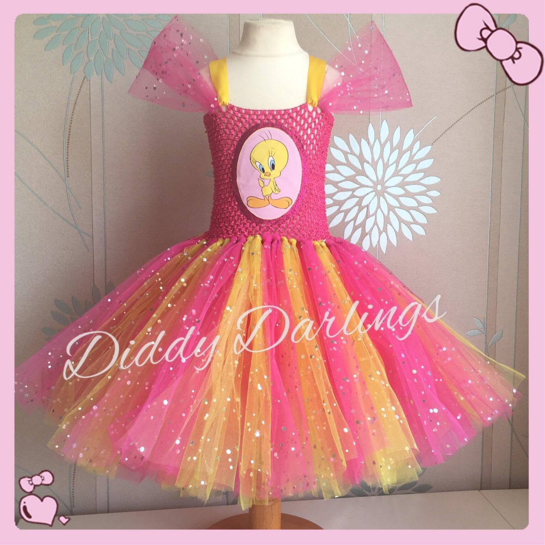 Sparkly Tweety Pie Tutu Dress Bird Costume Dress Inspired