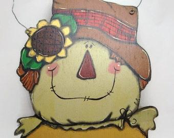 Hanging door scarecrow welcome autumn - Fall door sign - Scarecrow door sign