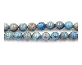 Strand 45+ Cyan/Brown Calsilica Jasper 8mm Plain Round Beads Y02175