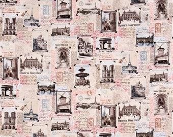 Tres Jolie Fabric Paris Landmarks Blush Postcards Timeless Treasures Cotton