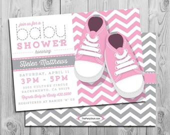 Chevron Baby Shower Invitation | Baby Girl Pink Grey White | FREE Back |  Baby Shoes