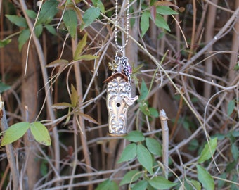 Birdhouse Necklace Pendant Silver Plated Antique Knife Handle  Repurposed Flatware Tiger Lily Festivity Pattern