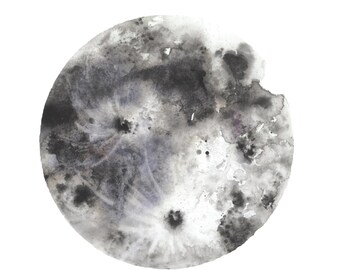 The Moon - watercolor poster print