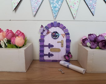 Fairy Door Purple Summer Fun Beautiful Handmade Can be personalized