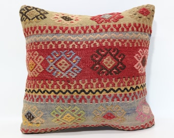 16x16 Embroidered Striped Kilim Pillow Sofa Pillow 16x16 Throw Pillow Ethnic Pillow Floor Pillow Bed Pillow Cushion Cover SP4040-2517