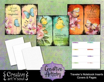 Creative Artistry Printable Traveler's Notebook Inserts - Covers|Dots|Grids|Lines|Planner