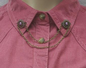 Purple Collar Pins, Sweater Pins, Victorian Brooch, Collar Chain, Victorian Jewellery, Lapel Pins, Collar Brooch, Opal Jewellery