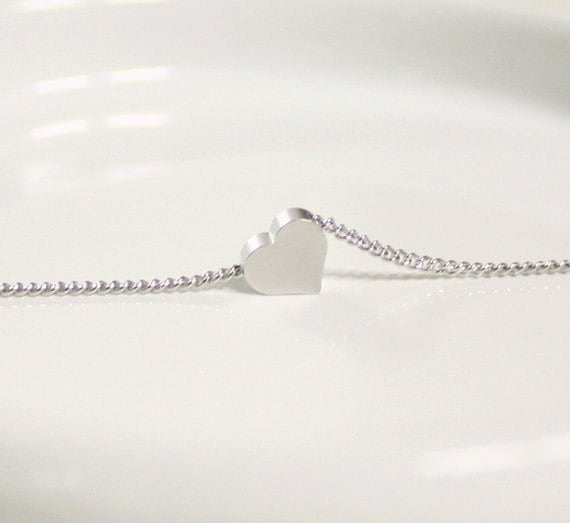 Items similar to White gold tiny heart simple necklace on Etsy