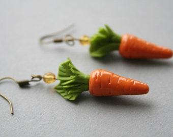 Carrot earrings, Easter earrings, Easter jewelry, Carrot jewelry, Easter gift for Kids, Polymer clay earrings,Vegetables earrings